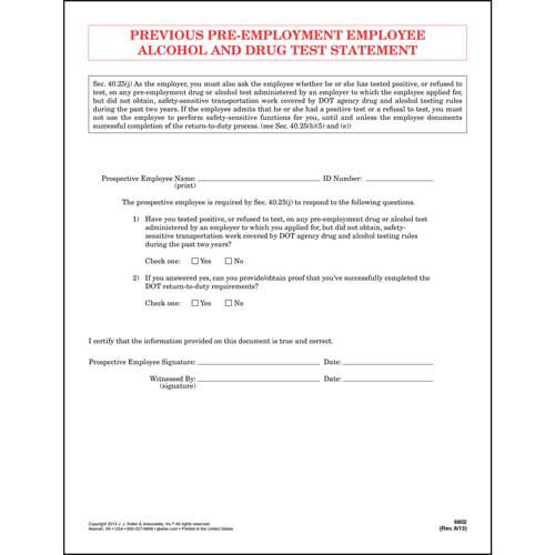 Previous Pre-Employment Employee Alcohol & Drug Test Statement - Padded Format (01515)