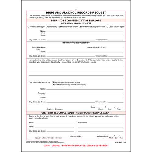 Drug and Alcohol Records Request (01495)