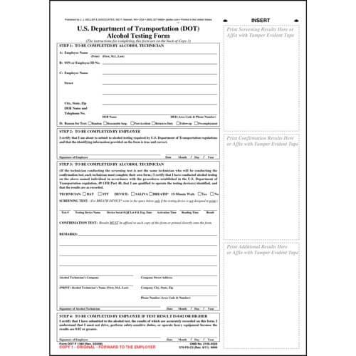 U.S. DOT Alcohol Testing Form w/ 2-Line Street Address (01332)