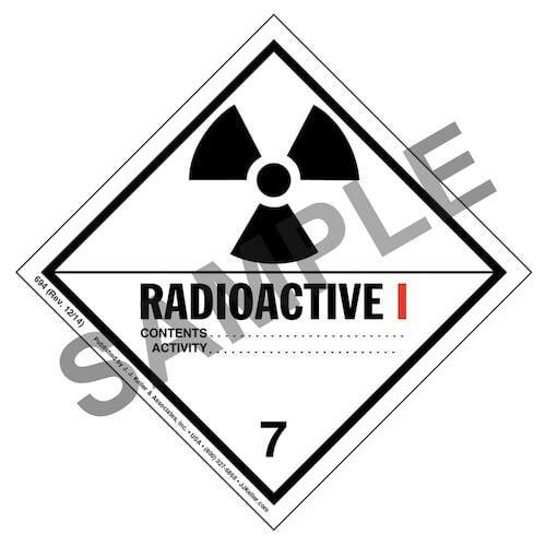 Hazardous Materials Labels - Class 7 -- Radioactive I - Paper (00049)