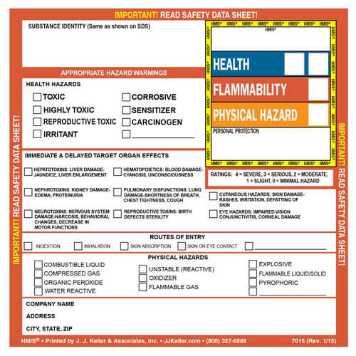 HMIS® III Hazard Summary Label (00822)