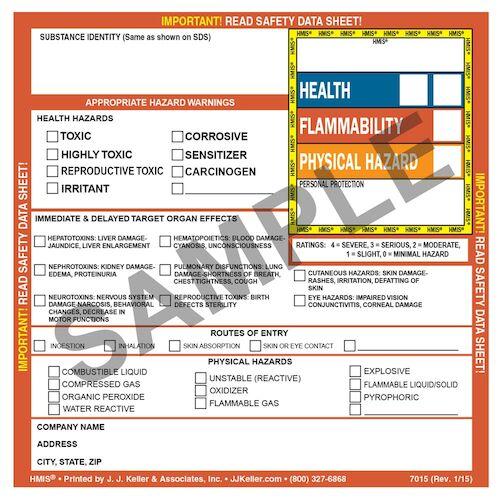 HMIS® III Hazard Summary Label (00822)