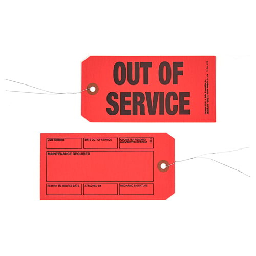 Out of Service/Maintenance Required Tags (02112)