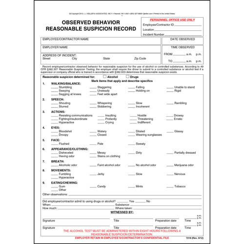 Observed Behavior Reasonable Suspicion Record (01508)