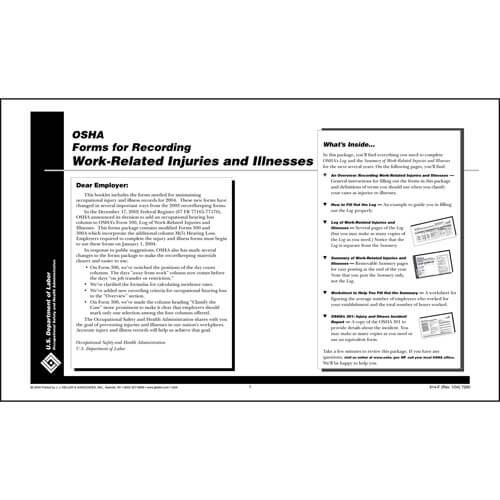 OSHA Reporting Instructional Booklet (01265)