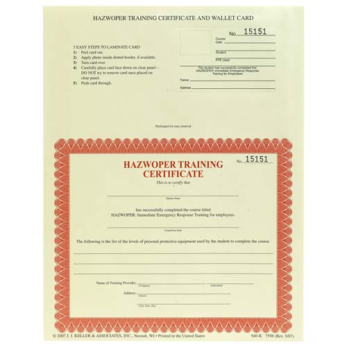 HAZWOPER Emergency Response Training for Employees - Combination Wallet Cards & Certificates (00286)