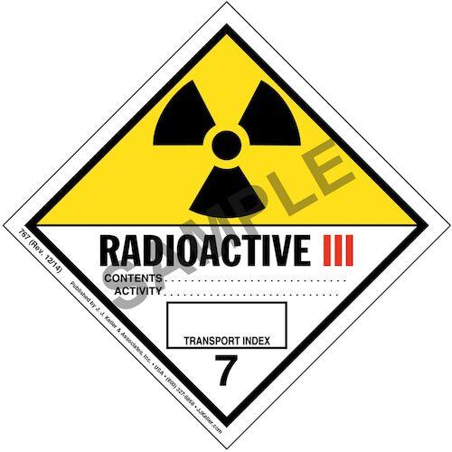 Hazardous Materials Labels - Class 7 -- Radioactive III - Paper, Roll (00059)