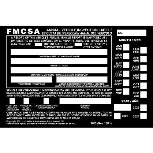 Annual Vehicle Inspection Label - Aluminum w/ Punch Boxes