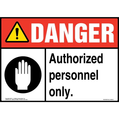 Danger: Authorized Personnel Only Sign with Icons - ANSI (09816)