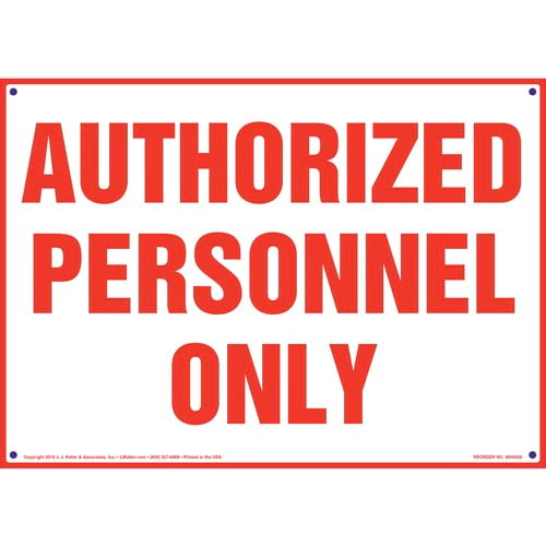 Authorized Personnel Only Sign (09831)