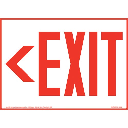 Directional Exit Left Sign - Red (09832)
