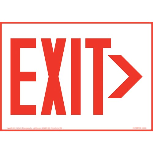 Directional Exit Right Sign - Red (09833)