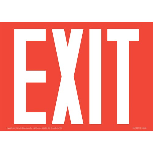 Exit Sign - White Text on Red