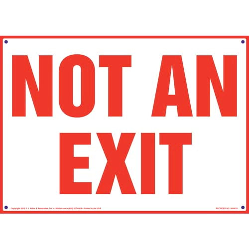 Not An Exit Sign - Red Text on White (09836)