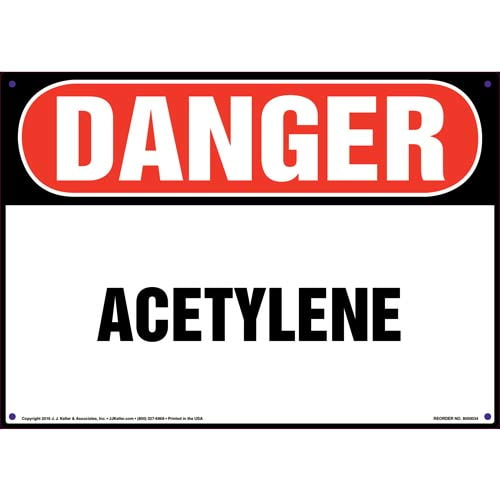 Danger: Acetylene Sign - OSHA (09839)