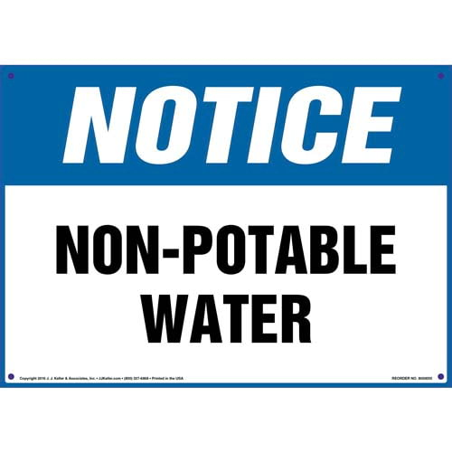 Notice: Non-Potable Water Sign - OSHA (09860)