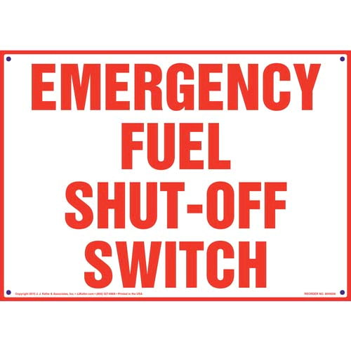Emergency Fuel Shut-Off Switch Sign (09861)