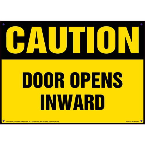 Caution: Door Opens Inward - OSHA Sign (09870)