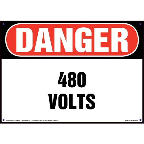 Danger: 480 Volts - OSHA Sign (09871)