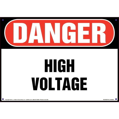 Danger: High Voltage - OSHA Sign (09874)