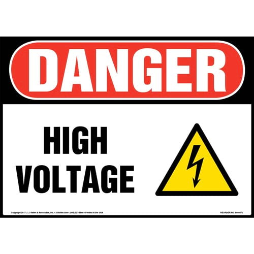 Danger: High Voltage - OSHA Electrical Sign (09876)