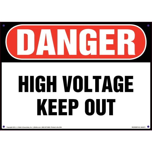 Danger: High Voltage Keep Out - OSHA Sign (09878)