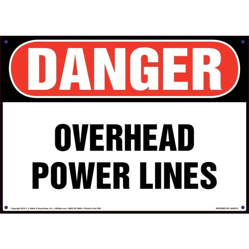 Danger: Overhead Power Lines - OSHA Sign (09879)