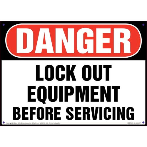 Danger: Lockout Equipment Before Servicing - OSHA Sign (09882)