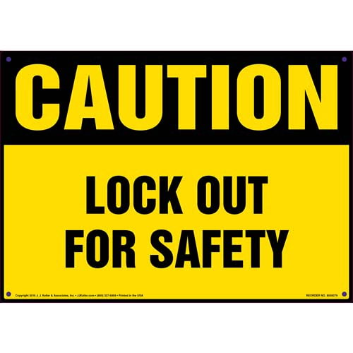 Caution: Lockout For Safety - OSHA Sign (09884)