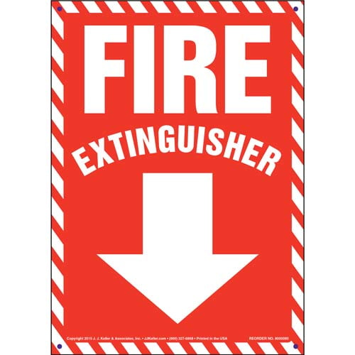 Fire Extinguisher Sign - Striped Border (09885)