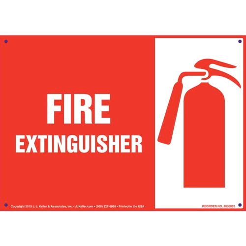 Fire Extinguisher Sign with Icon - Landscape (09887)