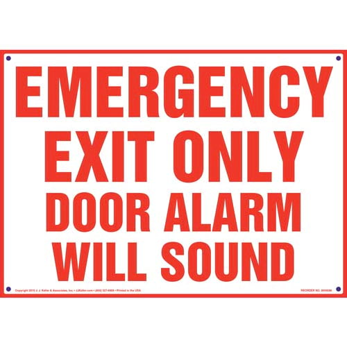 Emergency Exit Only Door Alarm Will Sound Sign (09891)
