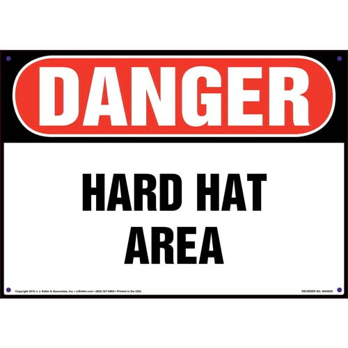 Danger: Hard Hat Area - OSHA Sign (09900)