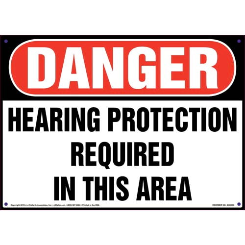 Danger: Hearing Protection Required In This Area - OSHA Sign (09901)