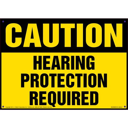 Caution: Hearing Protection Required - OSHA Sign (09906)