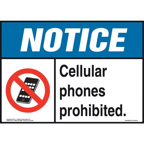 Notice: Cellular Phones Prohibited Sign - ANSI (09911)