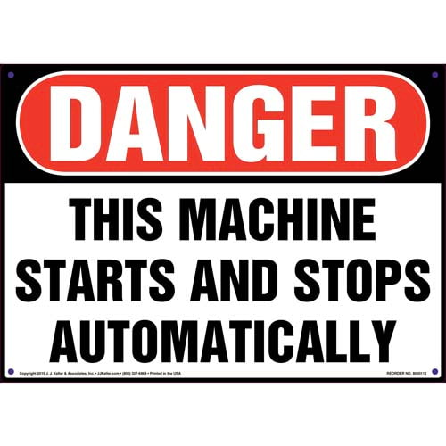 Danger: Machine Starts And Stops Automatically Sign - OSHA (09917)