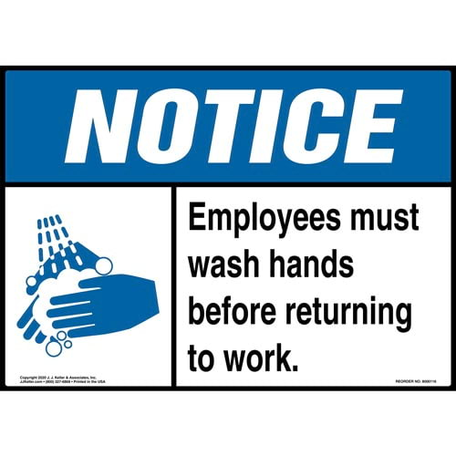 Notice: Employees Must Wash Hands - ANSI Sign (09921)