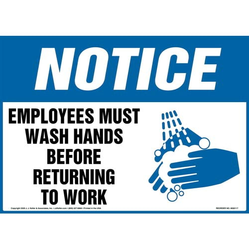 Notice: Employees Must Wash Hands - OSHA Sign (09922)