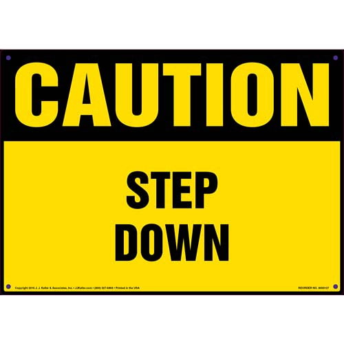 Caution: Step Down - OSHA Sign (09932)