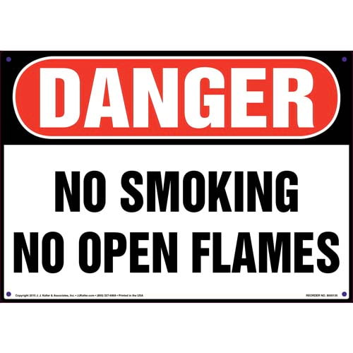 Danger: No Smoking No Open Flames Sign - OSHA (09940)
