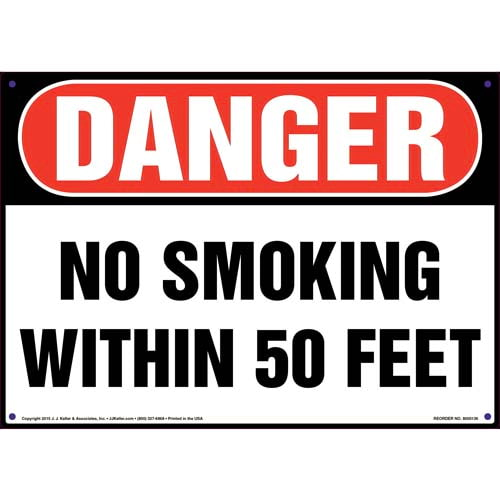 Danger: No Smoking Within 50 Feet Sign - OSHA (09941)
