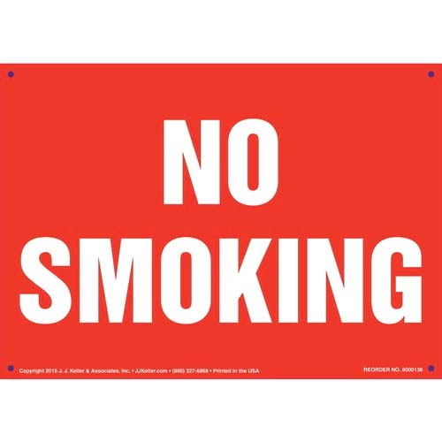 No Smoking Sign - White Text on Red (09943)