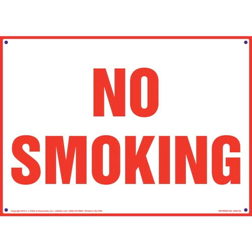No Smoking Sign - Red Text on White (09944)