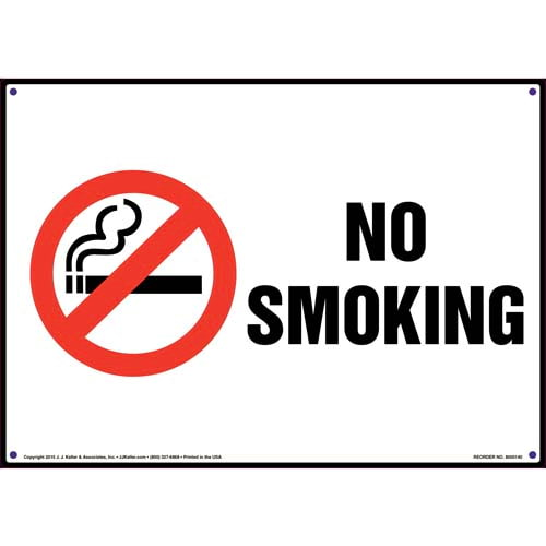 No Smoking Sign with Icon - Landscape (09945)