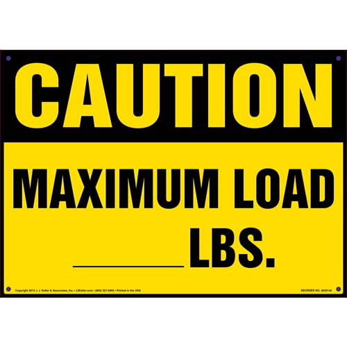 Caution: Maximum Load Sign - OSHA (09947)
