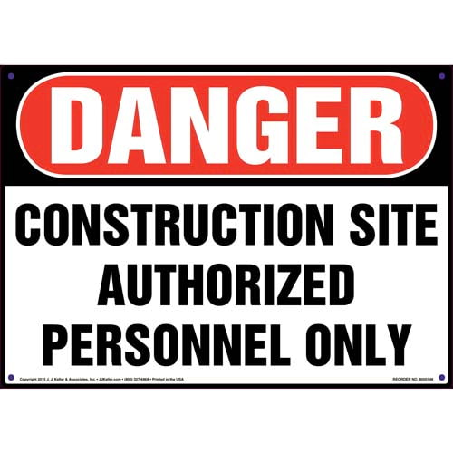 Danger: Construction Site Authorized Personnel Only - OSHA Sign (09953)
