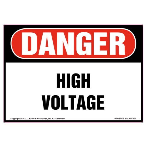 Danger: High Voltage - OSHA Label (09965)