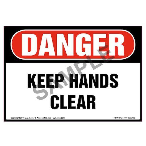 Danger: Keep Hands Clear Label - OSHA (09967)