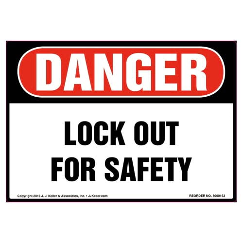 Danger: Lockout For Safety - OSHA Label (09968)